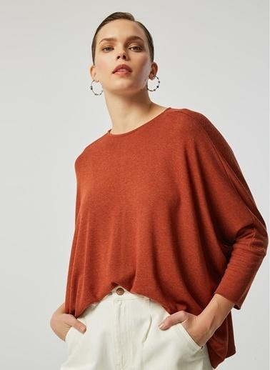 Monamoda Yarasa Kol Kare Form Bluz Kiremit